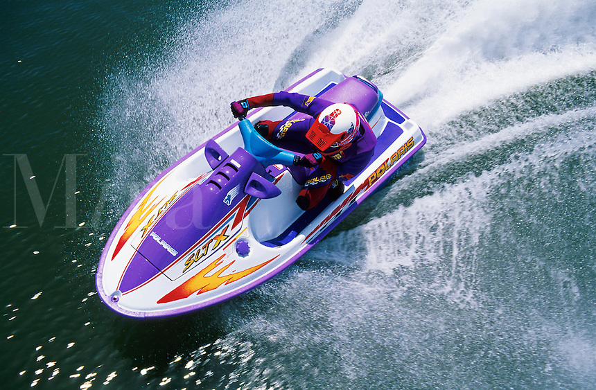 A jet ski with rider.
