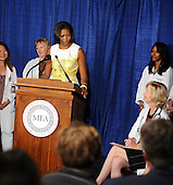 United States First Lady Michelle Obama speaks at an event about the Affordable Care Act at George Washington University Hospital, on Wednesday, July 14, 2010, in Washington, DC. .Credit: Leslie E. Kossoff - Pool via CNP