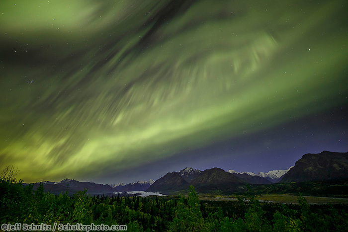 Fall landscape of Aurora Borealis (Northern Lights) over Matanuska Glacier and Chugach Mountains in Southcentral, Alaska  Fall/Autumn<br /> <br /> Photo by Jeff Schultz/SchultzPhoto.com  (C) 2018  ALL RIGHTS RESERVED
