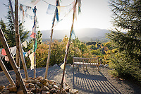 Prayer flags on hill overlooking Quarryhill Botanical Garden, Sonoma, Glen Ellen, California