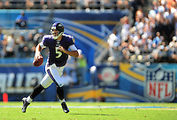 Sep. 20, 2009; San Diego, CA, USA; Baltimore Ravens quarterback Joe Flacco looks for a receiver in the third quarter against the San Diego Chargers at Qualcomm Stadium in San Diego. Baltimore defeated San Diego 31-26. Mandatory Credit: Mark J. Rebilas-