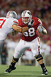 Wisconsin Badgers offensive lineman Ricky Wagner (58) prepares to block during an NCAA college football game against the Ohio State Buckeyes on October 16, 2010 at Camp Randall Stadium in Madison, Wisconsin. The Badgers beat the Buckeyes 31-18. (Photo by David Stluka)