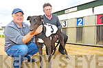 Clem Lynch, greyhound ''Rusheen Lad'' and Tom Bambury at the Kingdom Greyhound Stadium, Tralee on Monday.