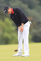 Rasmus Hojgaard of Team Denmark on the 18th green during Round 4 of the WATC 2018 - Eisenhower Trophy at Carton House, Maynooth, Co. Kildare on Saturday 8th September 2018.<br /> Picture:  Thos Caffrey / www.golffile.ie<br /> <br /> All photo usage must carry mandatory copyright credit (© Golffile | Thos Caffrey)