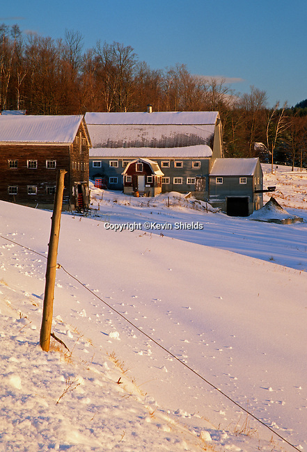 A farm in winter in Livermore Falls, Maine, USA