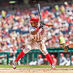 16 August 2017: Washington Nationals infielder Wilmer Difo in action against the Los Angeles Angels at Nationals Park in Washington, DC. The Angels defeated the Nationals 3-2 to split their 2-game series. Mandatory Credit: Ed Wolfstein Photo *** RAW (NEF) Image File Available ***