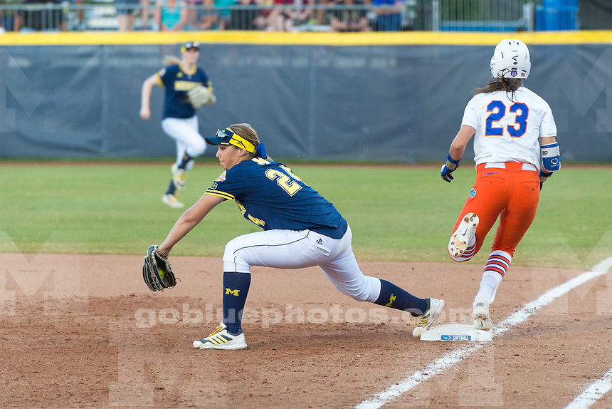 The University of Michigan women's softball team; 3-2 loss to University of Florida in Game 1 in the Championship series of the Women's College World Series held at the ASA Hall of Fame Stadium in Oklahoma City,Okla. on 6/01/15.