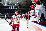 Stockholm 2013-12-28 Ishockey Hockeyallsvenskan Djurg&aring;rdens IF - Almtuna IS :  <br /> Almtuna Daniel Hermansson gratuleras av lagkamrater efter att ha satt f&ouml;rsta straffen i straffl&auml;ggningen efter ordinarie matchtid<br /> (Foto: Kenta J&ouml;nsson) Nyckelord:  jubel gl&auml;dje lycka glad happy