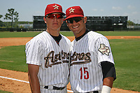 July 10, 2009:  Infielders Enrique Hernandez and Ronald Sanchez of the GCL Astros pose for a photo after a game at Osceola County Complex in Kissimmee, Florida. The GCL Astros are the Gulf Coast Rookie League affiliate of the Houston Astros.  (Mike Janes/Four Seam Images)