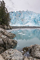 Landscape of the face of Meares glacier in Prince William Sound, Alaska.