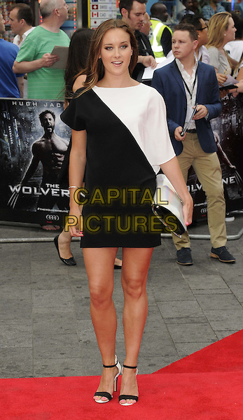 April Pearson<br /> &quot;The Wolverine&quot; UK Premiere, Empire Leicester Square, London, England.<br /> 16th July 2013<br /> full length black white dress clutch bag  <br /> CAP/CAN<br /> &copy;Can Nguyen/Capital Pictures