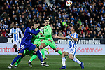 CD Leganes's Oscar Rodriguez and Levante UD's Aitor Fernandez during La Liga match between CD Leganes and Levante UD at Butarque Stadium in Leganes, Spain. March 04, 2019. (ALTERPHOTOS/A. Perez Meca)