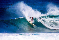 Brad Gerlach (USA) surfing at Backdoor on the North Shore of Oahu Hawaii  circa 1992 Photo: joliphotos.com