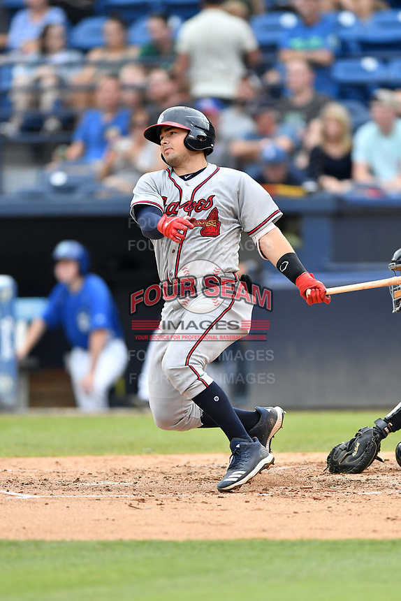 Rome Braves Shea Langeliers (4) swings at a pitch during a game against the Asheville Tourists at McCormick Field on July 18, 2019 in Asheville, North Carolina. The Tourists defeated the Braves 4-3. (Tony Farlow/Four Seam Images)