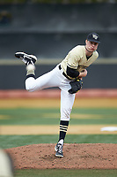 Wake Forest Demon Deacons relief pitcher William Fleming (38) follows through on his delivery against the Notre Dame Fighting Irish at David F. Couch Ballpark on March 10, 2019 in  Winston-Salem, North Carolina. The Demon Deacons defeated the Fighting Irish 7-4 in game one of a double-header.  (Brian Westerholt/Four Seam Images)