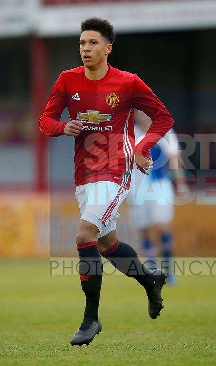 Nishan Burkart of Manchester Utd during the U18 Premier League Merit Group A match at The J Davidson Stadium, Altrincham. Date 12th May 2017. Picture credit should read: Simon Bellis/Sportimage