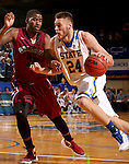 BROOKING, SD - NOVEMBER 13:  Mike Daum #24 from South Dakota State drives against Jay Feltson #24 from Chadron State in the first half of their game Friday night at Frost Arena in Brookings. (Photo by Dave Eggen/Inertia)