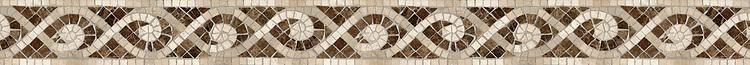 "3 1/2"" Tatiana border, a hand-cut stone mosaic, shown in polished Emperador Dark, honed Fontenay Claire, Saint Vincent, Saint Richard, and Ivory Cream."