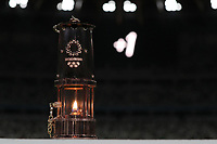 23rd July 2020, Tokyo, Japan;  A lantern containing Olympic flame is seen during a ceremonial event to mark a year-to-go until the start of the postponed Tokyo 2020 Olympic, at the Olympic Stadium in Tokyo, Japan, July 23, 2020. Tokyo 2020 organizers held a ceremonial event behind closed doors here on Thursday.