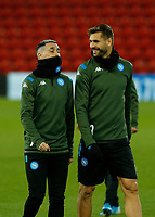 26th November 2019; Anfield, Liverpool, Merseyside, England; UEFA Champions League, Liverpool versus Napoli, Napoli Training; Jose Callejon and Fernando Llorente of SSC Napoli share a joke during SSC Napoli's open training session at Anfield ahead of tomorrow's Champions League group match against Liverpool
