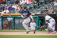 Nick Evans (17) of the Reno Aces at bat against the Salt Lake Bees in Pacific Coast League action at Smith's Ballpark on May 10, 2015 in Salt Lake City, Utah.  Salt Lake defeated Reno 9-2 in Game One of the double-header. (Stephen Smith/Four Seam Images)