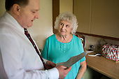 Derbyshire Housing Options adviser Clive Gray with a sheltered housing resident, Darley Dale.