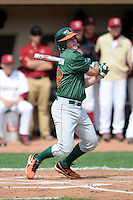 University of Miami Hurricanes infielder David Thompson #19 during a game versus the Boston College Eagles at Shea Field in Chestnut Hill, Massachusetts on April 26, 2013.  (Ken Babbitt/Four Seam Images)