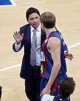 FC Barcelona Regal's coach Xavi Pascual and Brad Oleson during Spanish Basketball King's Cup match.February 07,2013. (ALTERPHOTOS/Acero) /Nortephoto