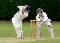Hugh Gimber bats for Brondesbury during the Middlesex Cricket League Division Two game between Brondesbury and Wembley at Harman Drive, London on Sat Aug 1, 2015
