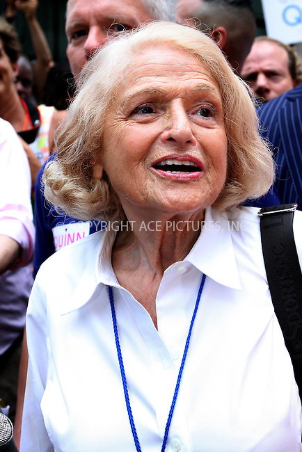 WWW.ACEPIXS.COM<br /> <br /> June 30 2013, New York City<br /> <br /> Parade grand marshal Edie Windsor  at The March during NYC Pride 2013 on June 30, 2013 in New York City. <br /> <br /> <br /> By Line: Nancy Rivera/ACE Pictures<br /> <br /> <br /> ACE Pictures, Inc.<br /> tel: 646 769 0430<br /> Email: info@acepixs.com<br /> www.acepixs.com