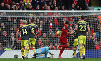 1st February 2020; Anfield, Liverpool, Merseyside, England; English Premier League Football, Liverpool versus Southampton; Virgil van Dijk of Liverpool attempts to beat Alex McCarthy of Southampton with a backheeled shot at goal