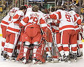 BU huddle - The Boston University Terriers defeated the Boston College Eagles 2-1 in overtime in the March 18, 2006 Hockey East Final at the TD Banknorth Garden in Boston, MA.