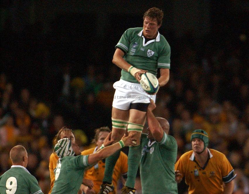 Photo: Jack Atley..Australia v Ireland.  At the Telstra Dome, Melbourne. RWC 2003. 01/11/2003..Malcolm O'Kelly.