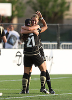 Leigh Ann Robinson (7) is congratulated by Adriane (21) after scoring the winning goal against Sky Blue FC, at Buck Shaw Stadium, in Santa Clara, Calif., Sunday, May 3, 2009.