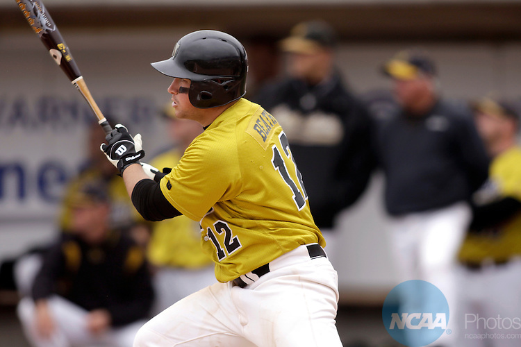26 MAY 2009: Stu Beath (12) of the College of Wooster bats during the Division III Men's Baseball Championship held at the Fox Cities Stadium in Grand Chute, WI. The University of St. Thomas defeated the College of Wooster 3-2 to claim the national title. Allen Fredrickson/NCAA Photos