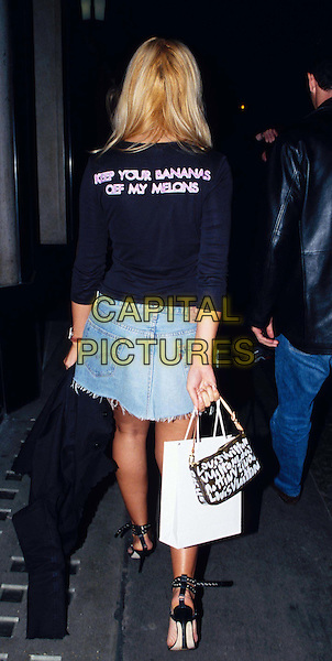 BEVERLEY BLOOM ..at the Ivy ..www.capitalpictures.com..sales@capitalpictures.com..©Capital Pictures..louis vuitton handbag, denim mini skirt, full length, full-length..