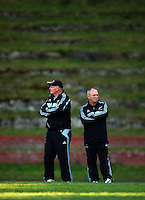 Scrum coach Mike Cron and head coach Graham Henry. All Blacks Training Session at Rugby League Park, Newtown, Wellington. Thursday 17 September 2009. Photo: Dave Lintott/lintottphoto.co.nz