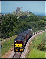 BNPS.co.uk (01202 558833)<br /> Pic: TomWren/BNPS<br /> <br /> Back on track - 1st mainline train pulls out of Swanage...<br /> <br /> A plucky seaside railway that refused to die is finally rejoing the rail network today after a 45 year fight to reverse the Beeching axe.<br /> <br /> At 10.23 sharp a train will once again leave Swanage in Dorset to rejoin the main network at Wareham, thanks to an army of volunteers who have spent 45 years painstakingly rebuilding their line. 