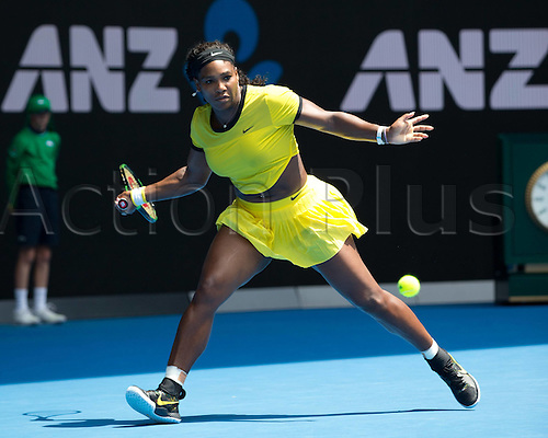 26.01.2016. Melbourne Park, Melbourne, Australia. Australian Open Tennis Championships.  Serena Williams during her quarter-final win over Maria Sharapova