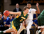 BROOKINGS, SD - FEBRUARY 1: Brandon Key #0 from South Dakota State University defends against Paul Miller #2 from North Dakota State University during their game Thursday at Frost Arena in Brookings. (Photo by Dave Eggen/Inertia)