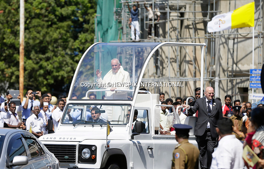 13.01.2015; Colombo, Sri Lanka: POPE FRANCIS <br /> begins his 3-day visit to Sri Lanka.<br /> While in Sri Lanka, Pope Francis will perform the Canonization of Blessed Joseph Vaz and visit the Madhu Shrine in the predominantly Tamil area of the country.<br /> The Pope then continues his Asian tour with a visit to the Philipines.<br /> Mandatory Photo Credit: &copy;NEWSPIX INTERNATIONAL<br /> <br /> **ALL FEES PAYABLE TO: &quot;NEWSPIX INTERNATIONAL&quot;**<br /> <br /> PHOTO CREDIT MANDATORY!!: NEWSPIX INTERNATIONAL(Failure to credit will incur a surcharge of 100% of reproduction fees)<br /> <br /> IMMEDIATE CONFIRMATION OF USAGE REQUIRED:<br /> Newspix International, 31 Chinnery Hill, Bishop's Stortford, ENGLAND CM23 3PS<br /> Tel:+441279 324672  ; Fax: +441279656877<br /> Mobile:  0777568 1153<br /> e-mail: info@newspixinternational.co.uk