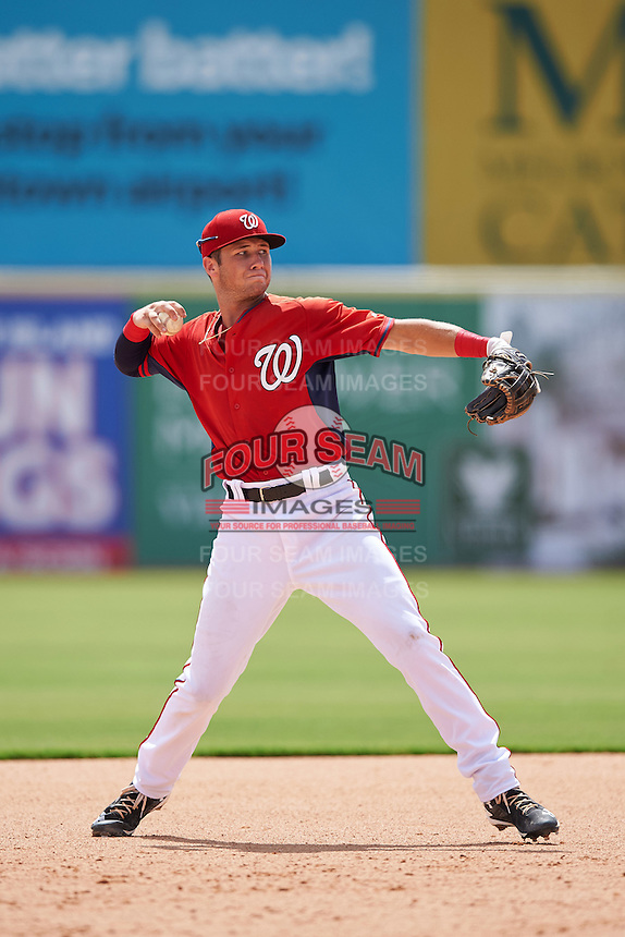 Washington Nationals shortstop Carter Kieboom (9) during an Instructional League game against the Atlanta Braves on September 30, 2016 at Space Coast Stadium in Melbourne, Florida.  (Mike Janes/Four Seam Images)