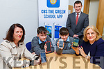 Students, Parents and Teachers launch the &ldquo;CBS The Green School App in the school on Tuesday.<br /> Seated l-r, Ann O&rsquo;Connell (Parents Council), Students, Kealan Downey and Donnacha Sayers and Grainne Hayes (Parents Council) with Robert Flaherty (Vice Principal.