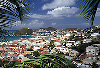 AJ2361, U.S. Virgin Islands, St. Thomas, Caribbean, Virgin Islands, USVI, U.S.V.I., Scenic view of the city and harbor of Charlotte Amalie the territorial capital of the US Virgin Islands on Saint Thomas Island.