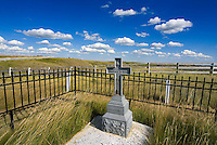 Blackfoot Crossing, Alberta, Canada, July 2008. The Siksika Nation Reserve of Blackfoot Crossing. Last resting place for Chief Crowfoot at the Crowfoot cemetary that is market by gifts to the dead. A road trip of 14 days by car takes us to the hightlights of Western Canadian cultulture, nature and history. Photo by Frits Meyst/Adventure4ever.com