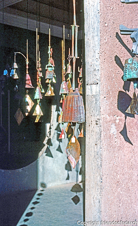 Paolo Soleri: ARCOSANTI. Bronze Bells in doorway. Photo '76.