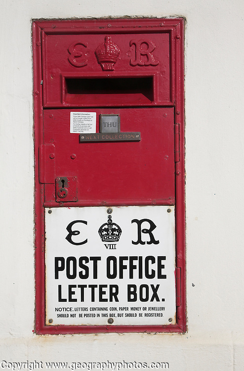 Edward the Eighth wall mounted letter box, Bawdsey, Suffolk, England. Thought to be the only one of this type in existence from his short reign before his abdication from the British throne 11 December 1936.