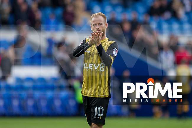 Barry Bannan of Sheffield Wednesday claps the fans at full time of the Sky Bet Championship match between Cardiff City and Sheffield Wednesday at Cardiff City Stadium, Cardiff, Wales on 16 September 2017. Photo by Mark  Hawkins / PRiME Media Images.