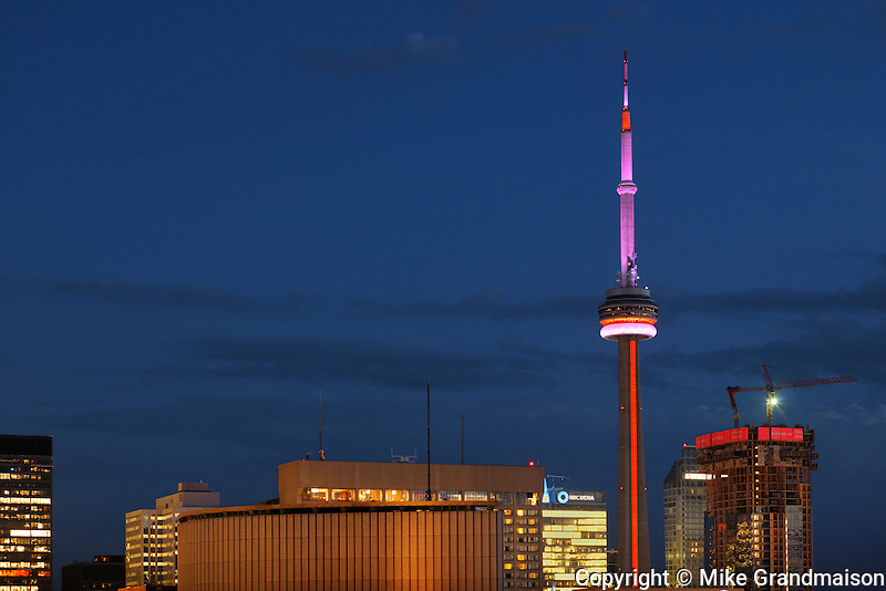 Toronto City at dusk with CN Tower<br /> toronto<br /> Ontario<br /> Canada
