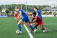 Boston, MA - Saturday July 01, 2017: Megan Oyster, Francisca Ordega and Allysha Chapman during a regular season National Women's Soccer League (NWSL) match between the Boston Breakers and the Washington Spirit at Jordan Field.
